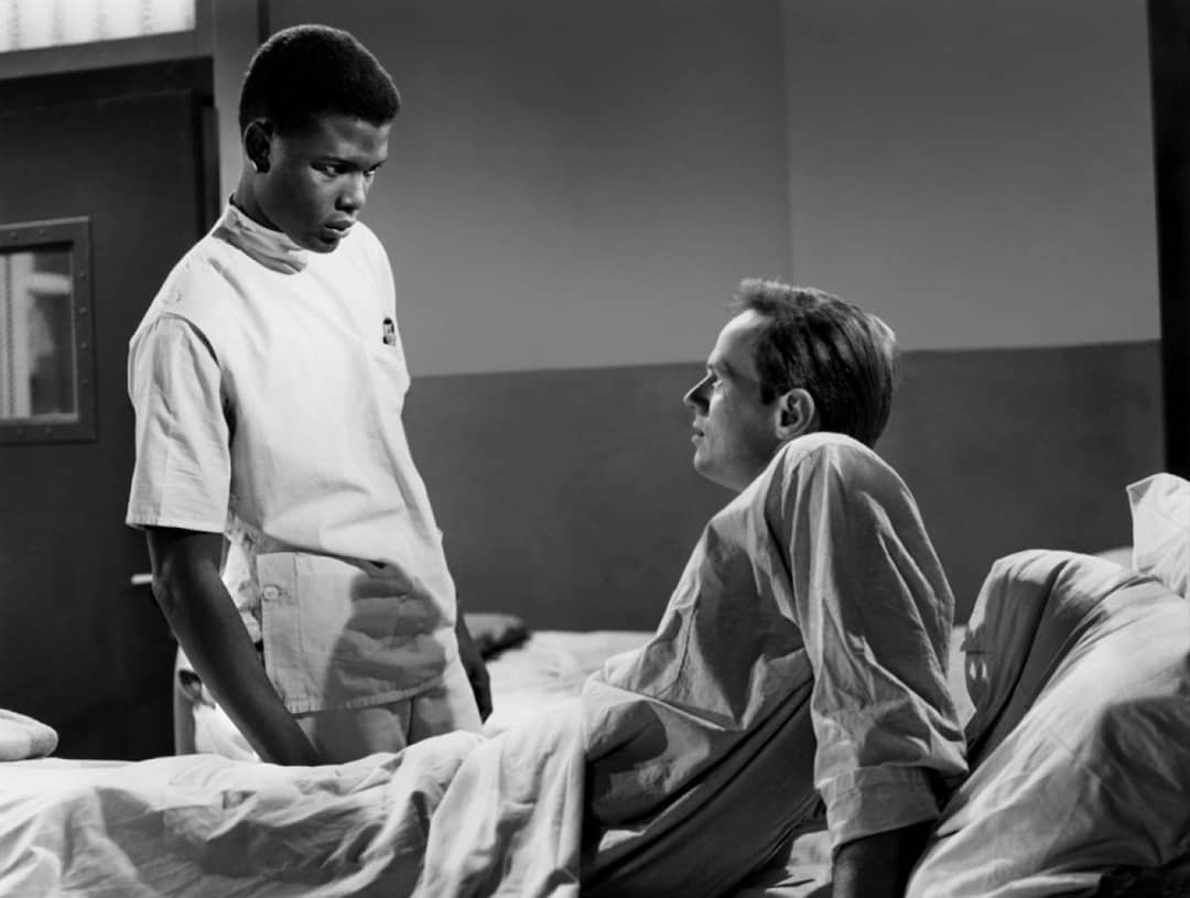 "In the ""holy **** that was 70 years ago dept."" Sidney Poitier  lies about his age and at 22 makes a spectacular debut in No Way Out (1950), playing a Doctor whose spinal tap of a white con leads to race riots. Actually banned in Chicago for a time for fear of incitement...#tcm !!"